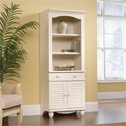 Sauder Harbor View Library With Doors in Antiqued White