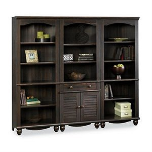 Sauder Harbor View Library Wall Bookcase in Antiqued Paint