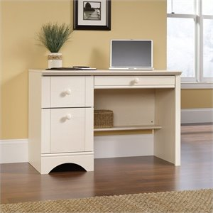Sauder Harbor View Computer Desk in Antiqued White