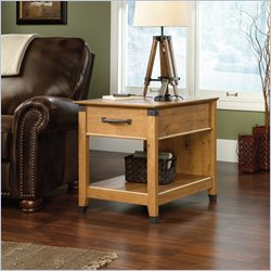 Sauder Registry Row Smartcenter Side Table in Amber Pine