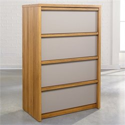 Sauder Soft Modern Chest in Pale Oak with Moccasin