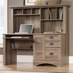 Sauder Harbor View Computer Desk with Hutch in Salt Oak