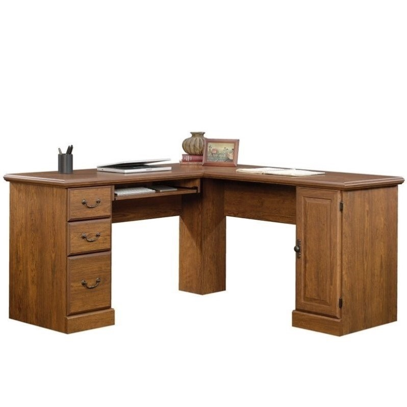 Orchard Hills L Shaped Computer Desk In Milled Cherry