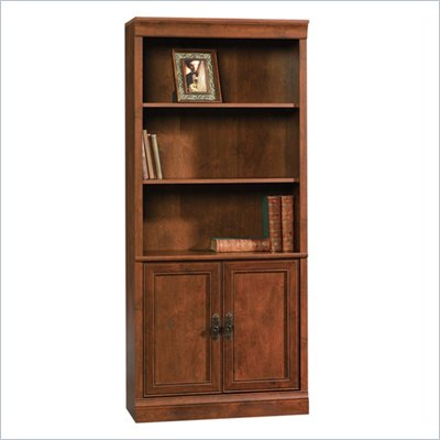 Sauder Arbor Gate 3 Shelves Library With Doors in Coach Cherry Finish