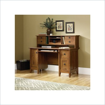 Sauder August Hill Comp Desk with Hutch in Oiled Oak