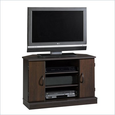Sauder Beginnings Corner TV Stand in Cinnamon Cherry