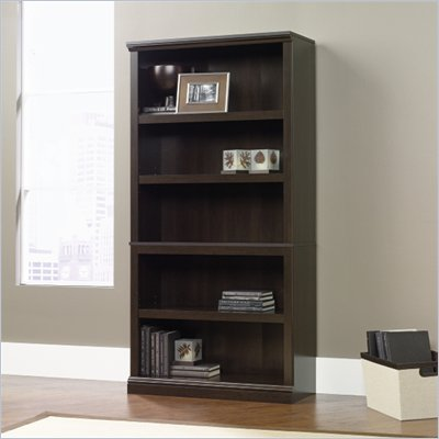 Sauder Storage Five Shelf Bookcase in Cinnamon Cherry Finish