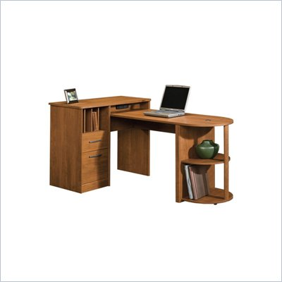 Sauder Camber Hill Desk with Return in Sand Pear