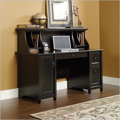 Sauder Edge Water Computer Desk and Hutch Set in Estate Black