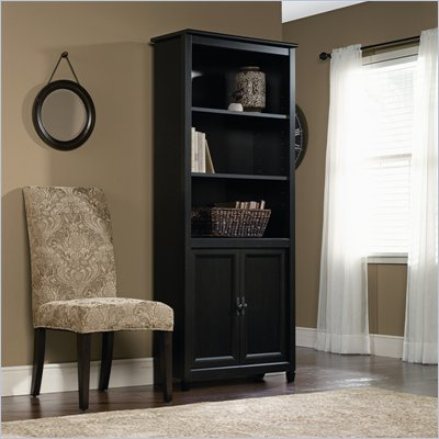 Sauder Edge Water Library Bookcase in Estate Black