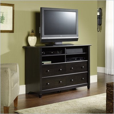Sauder Edge Water Highboy TV Stand in Estate Black