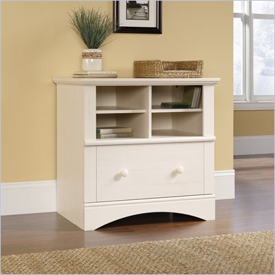 Sauder Harbor View 1 Drawer Lateral Wood File Cabinet in Antique White
