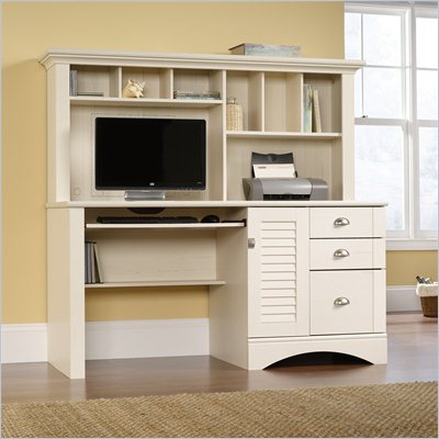 Sauder Harbor View Computer Desk with Hutch in Antiqued White