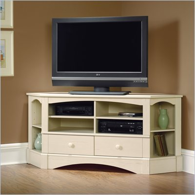 Sauder Harbor View Corner Entertainment Credenza in Antiqued White