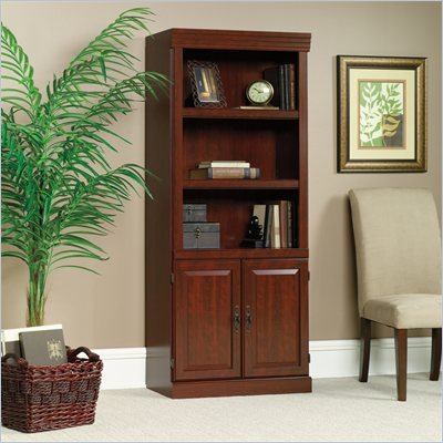Sauder Heritage Hill 3 Shelves Wood Bookcase With Cabinet in Classic Cherry Finish