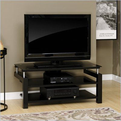 Sauder Lake Point Panel TV Stand in Black
