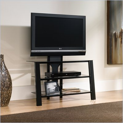 Sauder Mirage Panel TV Stand with Panel Mount Black Clear Glass
