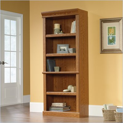 Sauder 5 Shelves Orchard Hills Wood Bookshelf in Carolina Oak Finish