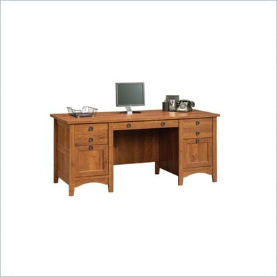 Sauder Rose Valley Executive Desk in Abbey Oak