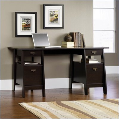 Sauder Stockbridge Executive Trestle Desk in Jamocha Wood