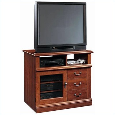 Sauder Planked TV Stand Cabinet with Media Storage in Cherry Finish