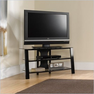 Sauder Mirage TV Stand Black Frame with Clear Glass