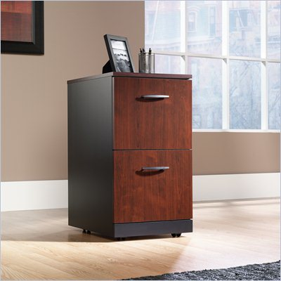 Sauder Via 2 Drawer Pedestal in Classic Cherry