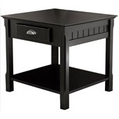 Winsome Timber Solid Wood End Table/Nightstand in Black