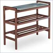 Winsome Mud Room Shoe Rack  with Zinc Tray in Antique Walnut
