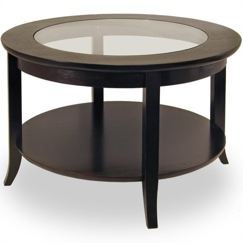 Genoa Round Wood Coffee Table with Glass Top in Dark Espresso