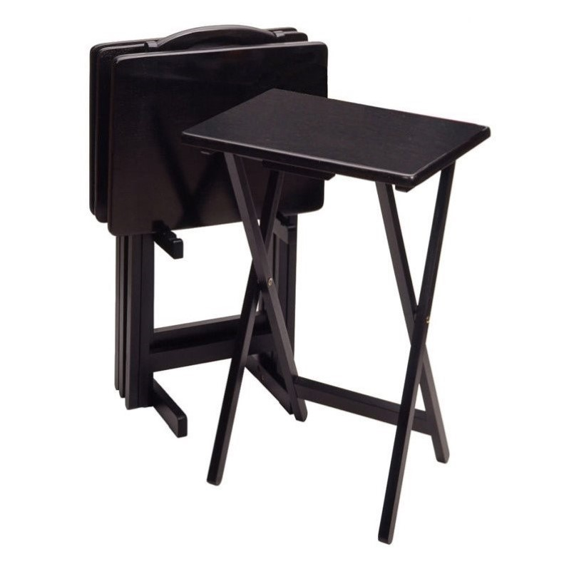 Winsome Black Beechwood 5 Piece TV Table with Stand