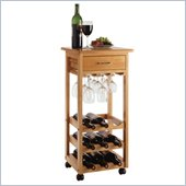 Winsome Light Oak Beechwood Wine Cart with Drawer and Glass Rack