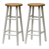 Winsome Basics 30 Bar Stools in Natural/White (Set of 2)