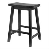 Winsome 24 Counter Height Saddle Seat Bar Stool in Black