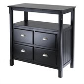 Winsome Timber Solid Wood Buffet Table in Black