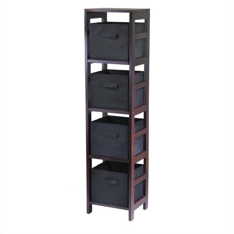 Leo 4-Section Tall Storage Shelf with 4 Foldable Black Baskets