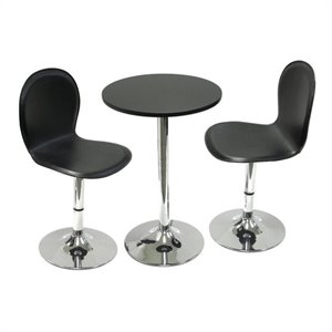 Winsome Spectrum Pub Table Set with 2 Bar Stools in Black and Chrome