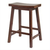 Winsome 24 Counter Height Saddle Stool in Antique Walnut