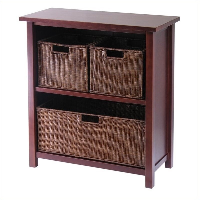 Milan 2 Shelf Storage Unit with 3 Wired Baskets in Antique Walnut
