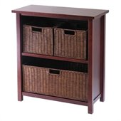 Winsome Milan 3-Tier Medium Storage Shelf with 3 Wired Baskets in Antique Walnut