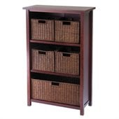 Winsome Milan 4-Tier Medium Storage Shelf and 5 Wired Baskets in Antique Walnut