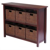 Winsome Milan 3-Tier Long Storage Shelf with 6 Wired Baskets in Antique Walnut