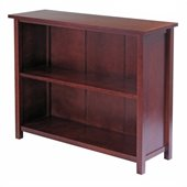Winsome Milan 2-Tier Long Storage Shelf in Antique Walnut