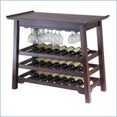 Winsome Chinois Console Wine Table with Glass Rack in Antique Walnut