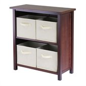 Winsome Milan 3-Tier Medium Storage Shelf with 4 Foldable Beige Fabric Baskets