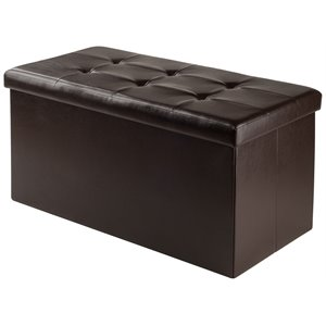 Winsome Ashford Faux Leather Storage Ottoman Bench in Espresso