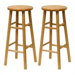 Winsome Basics 30 Natural Finish Bar Height Stools (Set of 2)