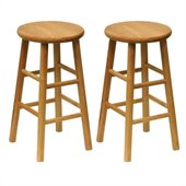 Winsome Basics 24 Natural Finish Counter Height Bar Stools (Set of 2)