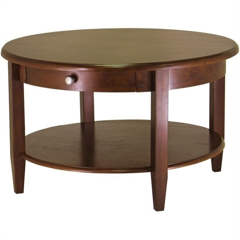 Winsome Concord Round Wood Walnut Coffee Table Ebay