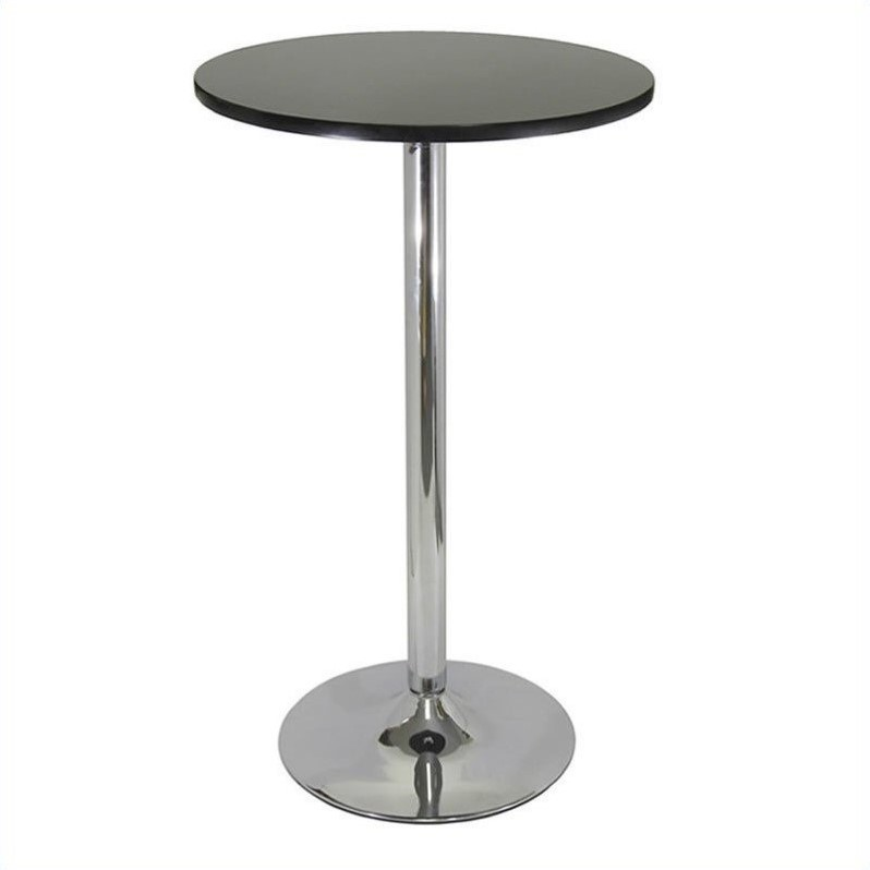Empat Round Bar Height Pub Table In Black And Chrome